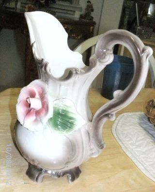 Vintage Capodimonte Porcelain Pitcher Made In Italy Decorative Roses Footed photo