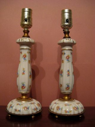 Circa 1940 ' S Cottage Style Hand Painted Porcelain Table / Dresser Lamps photo