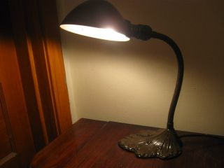 Vintage Industrial Metal Leaf Desk Office Lamp Marked O - K photo