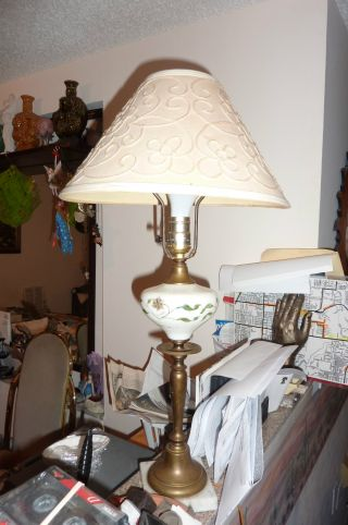 Antique Table Lamp Brass Hand Painted Flowered White Glass photo
