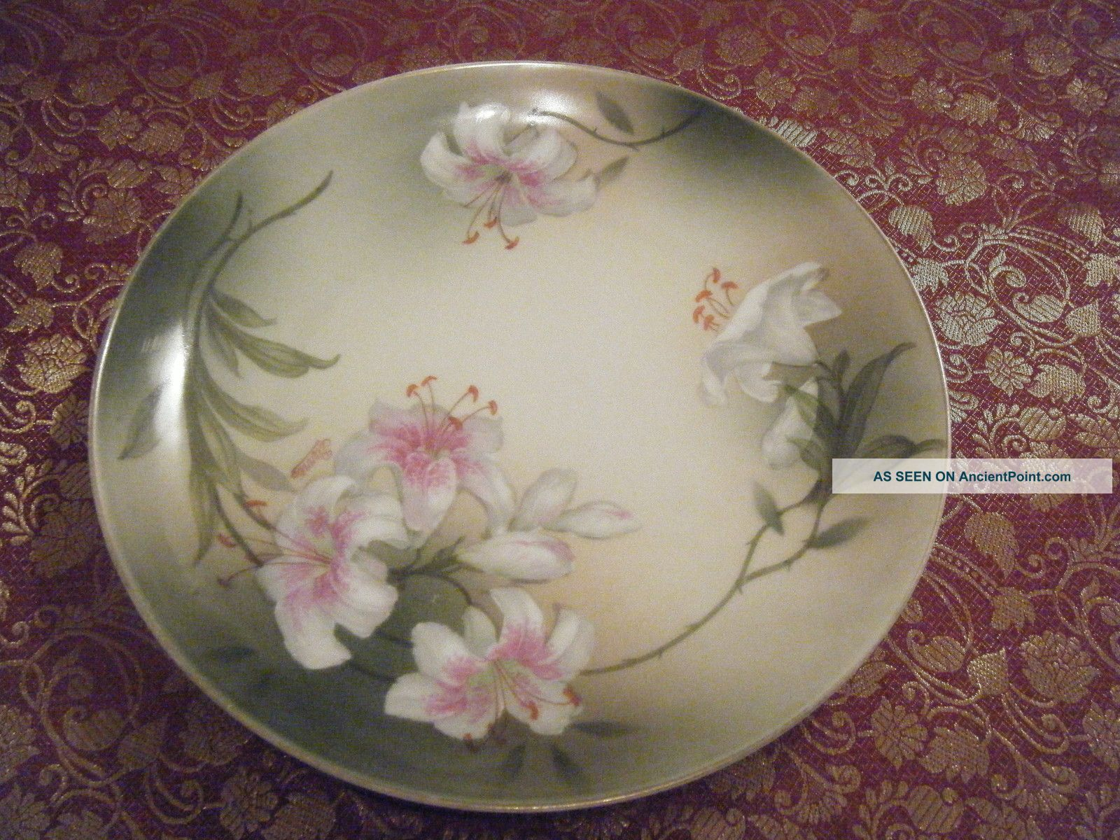 Hand Painted Porcelain Plate Psag Bavaria,  Artist Signed Pierre Plates photo