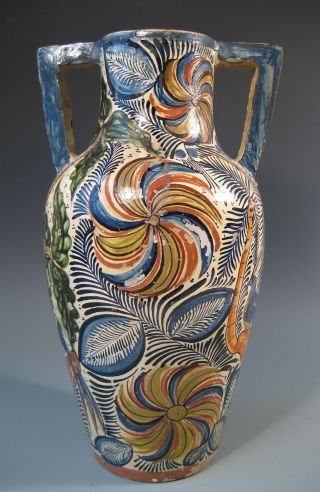 Very Fine Spain Spanish Polychrome Majolica Two Handle Vase Ca.  19th Century photo