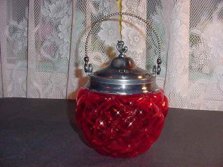 Vintage Victorian Ruby Red Glass Diamond Quilted Biscuit Jar photo