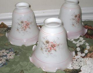 3 White & Pink Trim Ruffled Edge Lamp Shades Globes 5 1/4