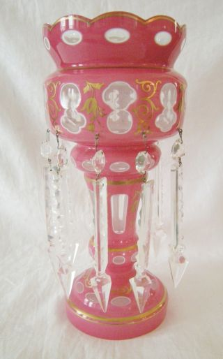 Antique Pink Cased Glass Large Mantle Luster Lustre Long Crystal Drops photo