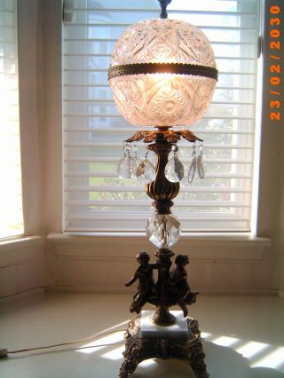 Rare Antique Neo Classic Crystal Cut Glass Prism Brass & Marble Cherubs Lamp photo