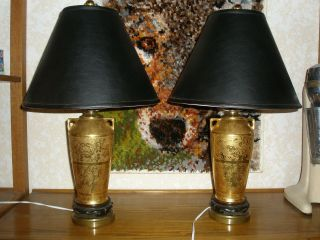 Antique Lamps Handmade In 1915 24kt Gold Foil Inlay Family Heirloom photo