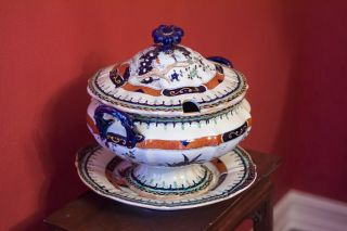 Museum Quality Masons 19th C.  Antique English Covered Tureen W/ Matching Platter photo