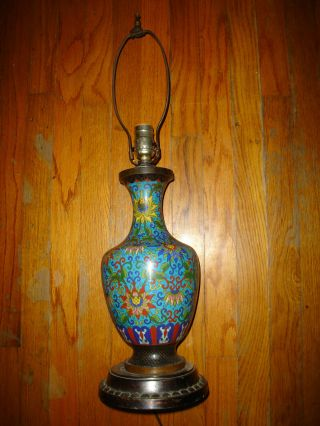 Antique Oriental Cloisonne Vase Made Into Lamp   Take A Peek Photo