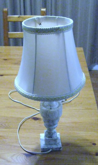 Vintage Antique Marble Boudoir Table Lamp Dainty Hand Carved Bedroom Trilight photo