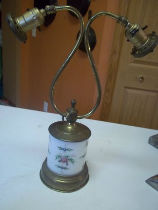 Antique Brass Lamp Hand Painted Glass Base Two Brass Arms 1920 No Shades photo