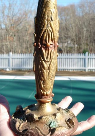 Antique Cast Iron Art Nouveau Lamp photo
