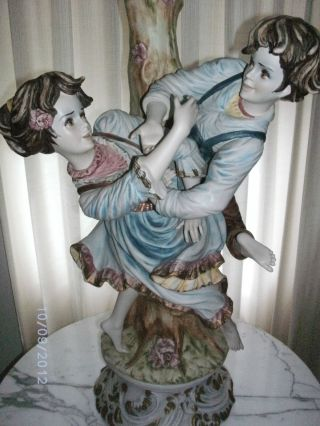 Vintage Capodimonte Figurine Lamps (3) Boy & Girl Dancing Italy Over 300 Crystals photo