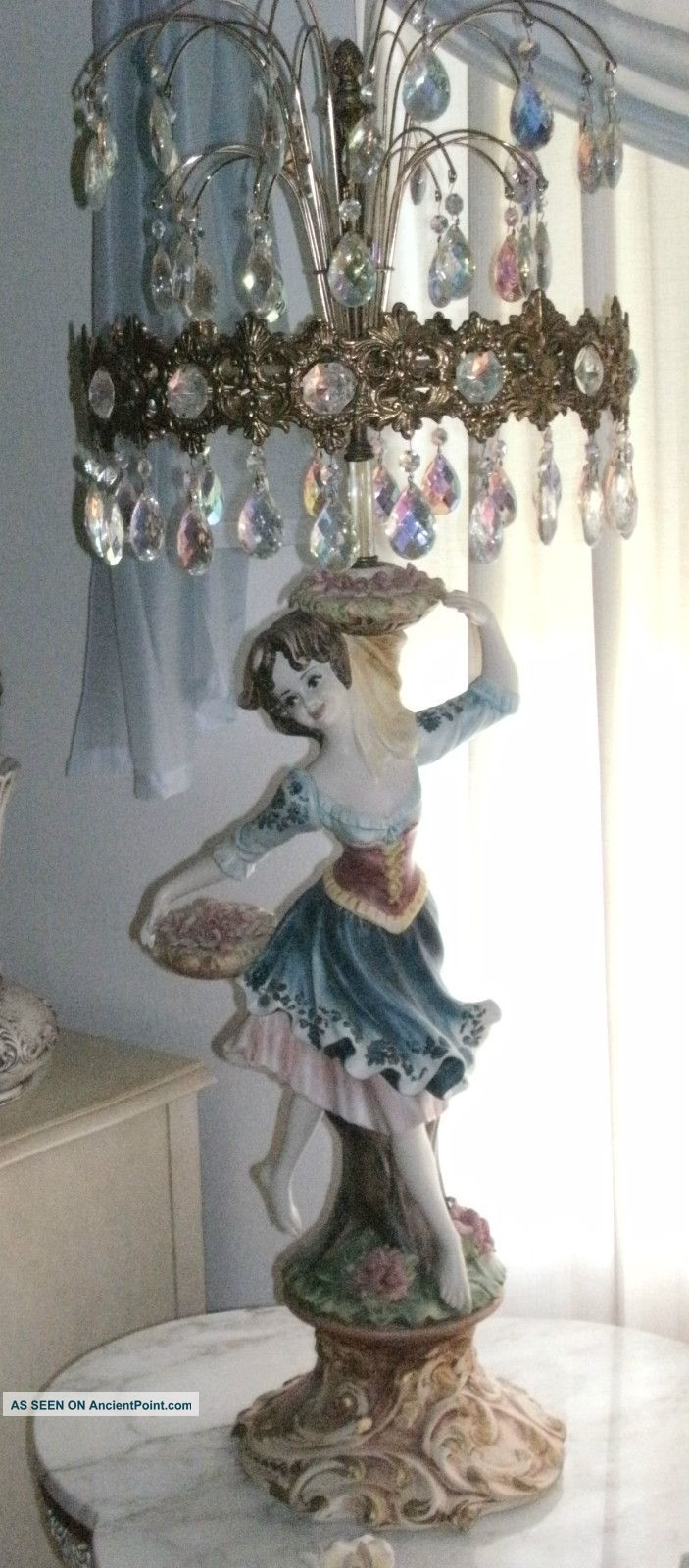Vintage Capodimonte Figurine Lamps (3) Boy U0026 Girl Dancing Italy Over 300  Crystals