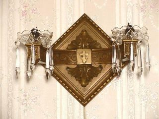 Unique Historical Russian Bronze Wall Lamp Christian Cross And Hammer & Sickle photo