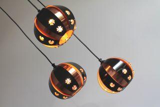 60`s Danish 3 - Light Hanging Lamp Werner Schou Fog & Morup Panton Eames Era photo