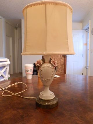 Vintage Cordey Porcelean Rose Pattern Lamp With Shade photo