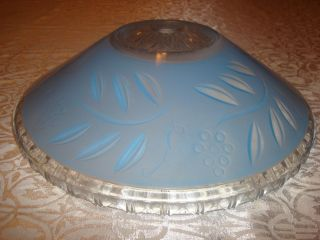Pair Blue Glass Flush Mount Lamp Shades 12 Inch photo