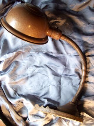 Vintage/antique Art Deco Cast Iron/copper Finish Desk Lamp/industrial photo