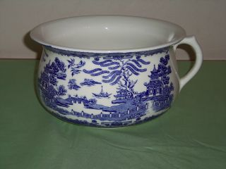 Antique Blue Willow Chamber Pot By Regal,  Made In England,  Ceramic Porcelain photo