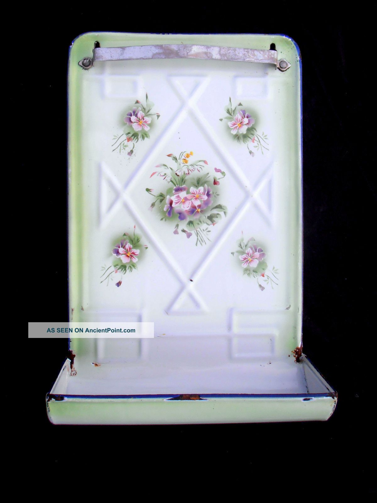 Antique French Floral Enamelware Tool Utensil Rack Japy Green & White Violets Toleware photo