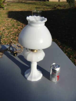 Vintage Milk Glass Oil Lamp With Shade Eagle Hardware photo