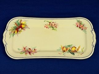 Royal Doulton Orchid Flowers Sandwich Cake Serving Plate Platter Vintage 1930s photo