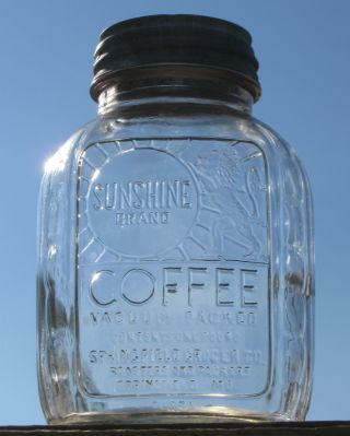 Vintage Sunshine Coffee Jar Springfield Mo Canning Jar Zinc Lid Kitchen Decor photo