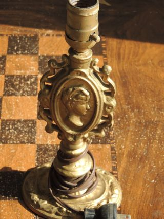 Antique Victorian Figural Spelter Lamp photo
