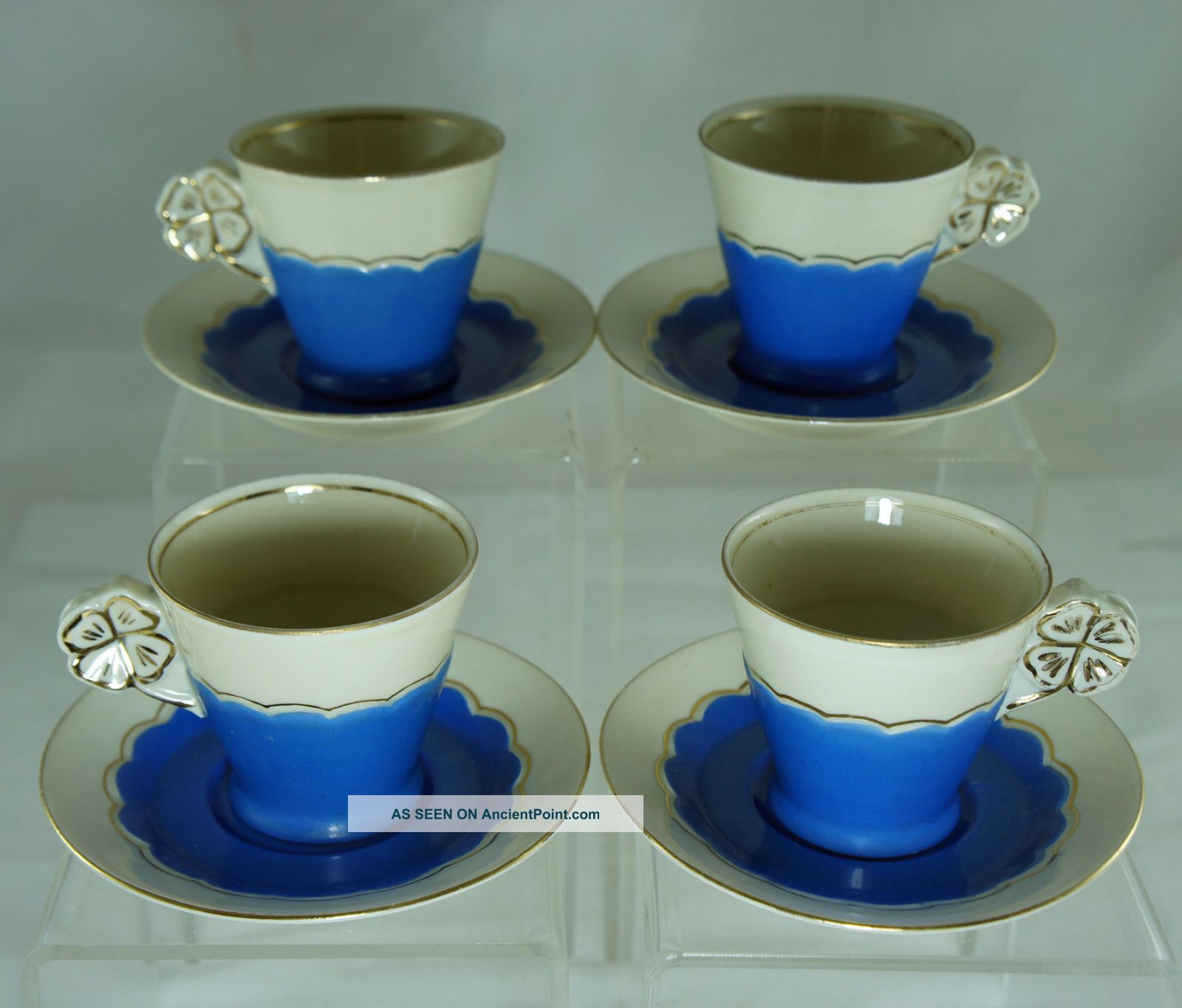 Vintage 60s Baby Blue & Off White,  Gold Rims Demitasse Cup & Saucer Set Of 4 Cups & Saucers photo