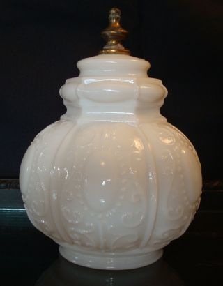 Vintage Pendant Glass Hanging Lamp Shade Milk Glass Embossed 2 1/2 Inch Fitter photo