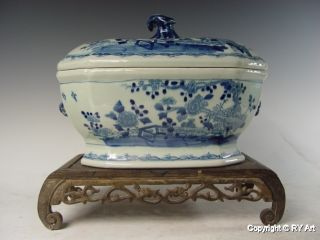 Exquisite Chinese Blue White Porcelain Tureen 12