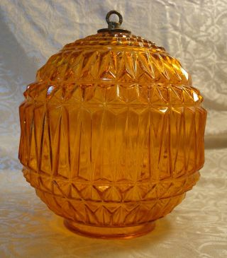 Vintage Retro Pendant Glass Hanging Lamp Shade Diamond Style 2 1/2 Inch Fitter photo