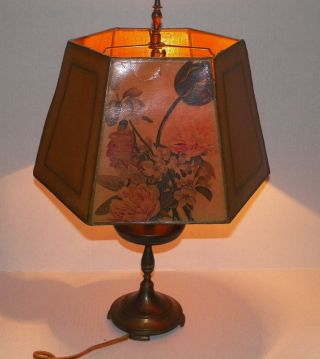 Antique/vintage Double Bulb Candelabra Table Lamp With Hexagonal 6 Sided Shade photo