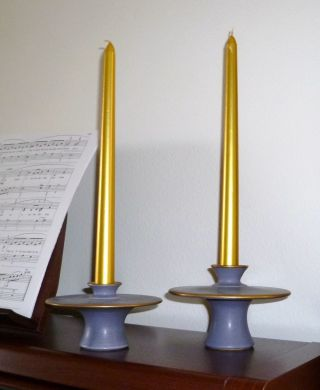 Lilac And Gold - Art Candlesticks - From