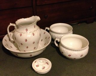 Pitcher Bowl Chamber Pots Soap Bristol Semi Porcelain 1906 - 915 Uk photo