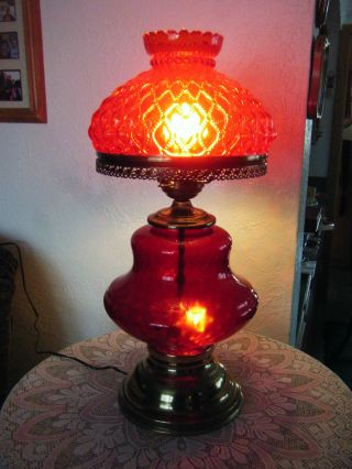 Vintage Lamp Cranberry Glass & Metal Decorative Collectible Christmas Gift photo