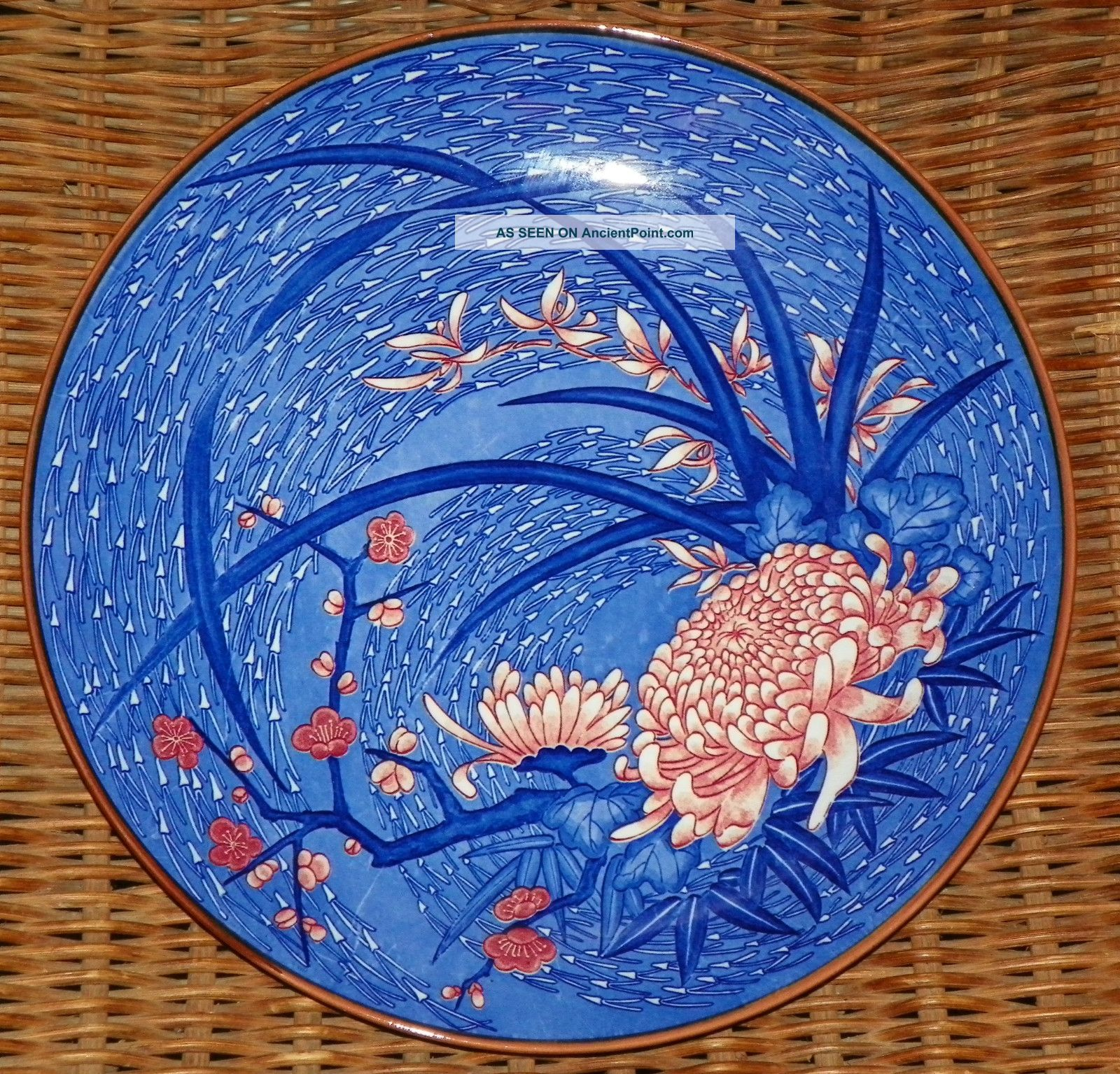 Large Blue Floral Japanese Imari Charger Colorful Flowered Plate Plates & Chargers photo