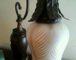 Duffner Kimberly Bronze Art Nouveau Glass Lamp Quezal Steuben Tiffany Studios photo