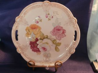 Vintage Shabby Chic Bavarian Rose Cake Plate photo