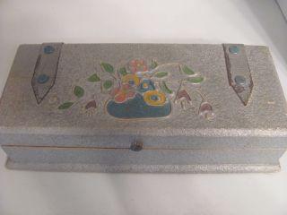 Antique Dresser Hankie Box With Contents Art Nouveau Style photo