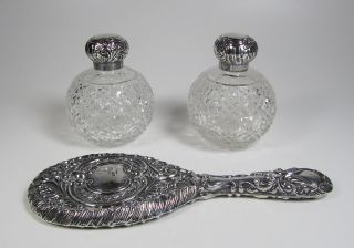 Antique William Devenport Pair Cut Glass & Sterling Perfume Bottles & Mirror photo