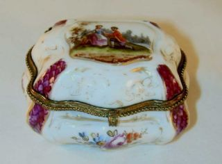 Hand Painted Porcelain Box Rococo Courting Scene Blue Crossed Swords & Dot Mark photo