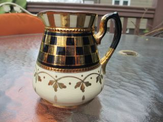 Early Copper Luster Ware England Art Pottery Small Milk Pitcher photo