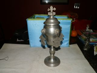 Antique Pewter Guild Cup Locksmiths Guild Engraved Dated Large Cup W Medallions photo