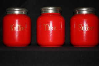 Antique Dutch Enamelware Canisters Jars Enamel Red Auth Rare 1900 photo