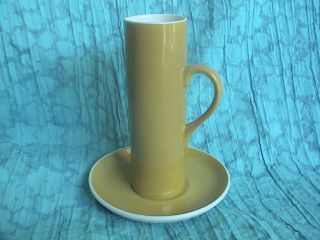 Vintage Schmid 60 Tackett Yellow Porcelain Espresso Tea Cup & Saucer Signed photo