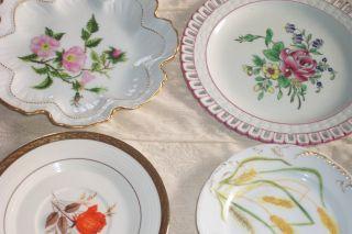 4 Antique Limoges France Plates D&c 1894 Pink Flowers photo