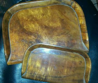 Vintage Wooden Crumb Trays,  Set Of Two photo
