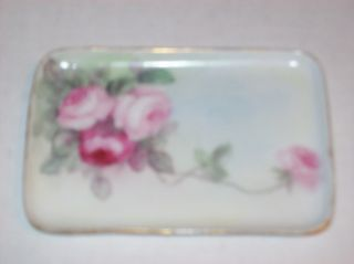 Pretty Pl Limoges France Porcelain Pin Tray Handpainted Initial Pink & Red Roses photo